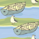 Boats and seagulls pattern Royalty Free Stock Image