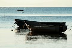 Boats on the seashore Stock Images