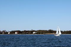 Shelter Island Travel. Boats are seen on the water in Shelter Island, NY Stock Image