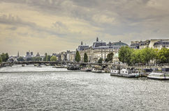 Boats on Seine River in Paris, France Royalty Free Stock Photo