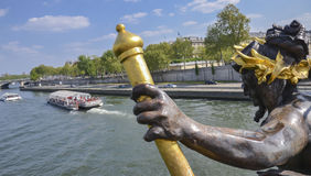 Boats on Seine river, view from Pont Alexandre 3, Paris Stock Photography