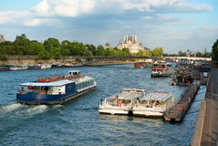 Boats on Seine Stock Photography