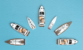 Boats are a semicircle. Top view royalty free illustration