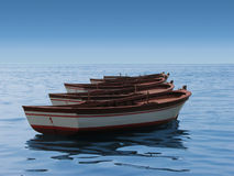Boats in sequence. Five boats in the calm sea in sequence Stock Image
