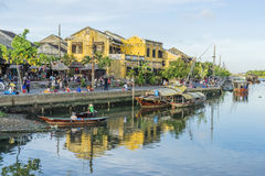 Boats serve tourists at the Thu Bon River, Hoi An, Vietnam Royalty Free Stock Image
