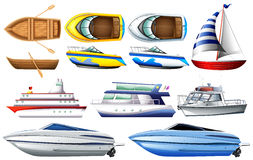 Boats. Set of boat and ship on white background Stock Photos