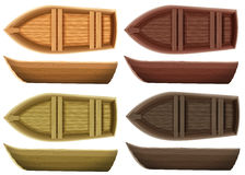 Boats. Set of different color wooden boats both top view and side view Stock Photo