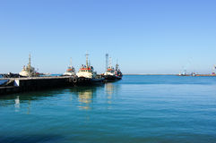 Boats and ships. In port on the Black Sea Stock Image