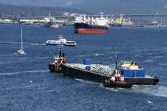 Boats and ships in busy Vancouver British Columbia Canada Harbou Royalty Free Stock Image