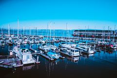 Boats and ships in harbor Royalty Free Stock Photos