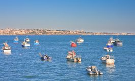 Boats and ships in the harbor town of Cascais. Portugal Stock Photography