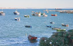 Boats and ships in the harbor town of Cascais. Portugal Royalty Free Stock Images
