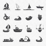 Boats and ships icons Royalty Free Stock Images