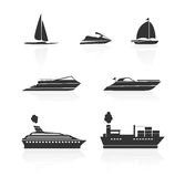 Boats and ships icons set Royalty Free Stock Photography