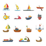 Boats and ships icons set Royalty Free Stock Photo