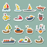 Boats and ships icons set Royalty Free Stock Image