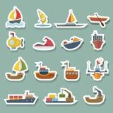Boats and ships icons set Royalty Free Stock Image