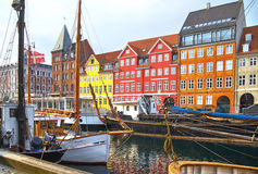 The boats and ships in Nyhavn, Copenhagen. Royalty Free Stock Photography