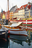 The boats and ships in Nyhavn, Copenhagen. Stock Photos