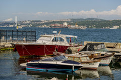 Boats and ships sail through the Bosphorus in Istanbul. Royalty Free Stock Photography