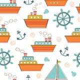 Boats and ships seamless pattern Royalty Free Stock Photo
