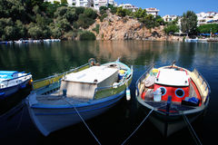 Boats and ships at Voulismeni lake in Agios Nikolaos (Crete) Royalty Free Stock Image