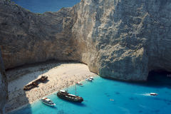 Boats and shipwreck beach at Zakynthos island Stock Images