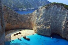 Boats and shipwreck beach at Zakynthos island Royalty Free Stock Photo