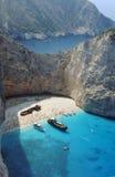 Boats and shipwreck beach at Zakynthos island Royalty Free Stock Photos