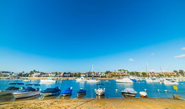 Boats by the shore in Balboa island. California royalty free stock photography