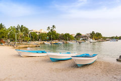 Boats on the shore in Bayahibe, La Altagracia, Dominican Republic. Copy space for text. Stock Photos