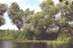 Boats on shore of Havel river. Vintage retouch of image Stock Photo