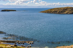 Boats on the shore on the Isla del Sol on Lake Titicaca in Boliv Royalty Free Stock Photography