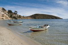 Boats on the shore of Lake. Titicaca in north Bolivia Royalty Free Stock Photos
