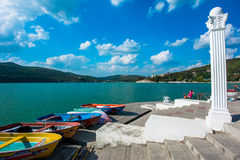 Boats on the shore of lake Abrau Royalty Free Stock Images