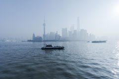 Boats of shore at Lujiazui in Shanghai, China Royalty Free Stock Images