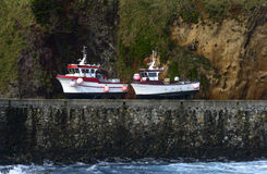 Boats on the shore at Santa Cruz, Azores archipelago (Portugal) Stock Photography