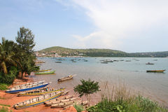 The boats on the shore of Tanganyika lake in Kigoma city, Tanzania. Stock Photo