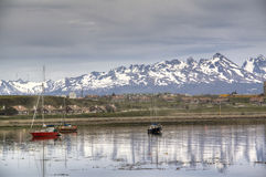 Boats at the shore of Ushuaia, Argentina Stock Photos