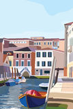 Boats on the shore in Venice. Scenic old streets Italian Lagoon. Vector illustration Royalty Free Stock Images