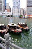 Boats by Singapore River Stock Image