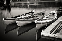 3 boats. Sitting in the calm waters Stock Photo