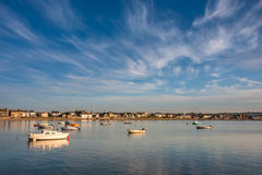 Boats in Skerries Harbour at sunset, Ireland. Landscape of irish coastline at Skerries, Dublin Stock Image