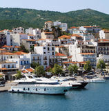 Boats in Skiathos island Royalty Free Stock Images