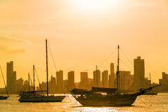Boats and Skyscrapers Royalty Free Stock Images