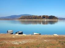 Boats and Slanica Island, Slovakia Stock Photography