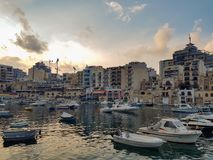 Boats in Sliema at sunset. royalty free stock photos