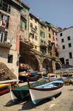 Boats on the slipway - Riomaggiore, Italy Stock Images