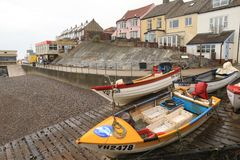 Boats on the slipway in Sheringham Stock Photos