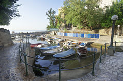 Boats in small fishing port Royalty Free Stock Images